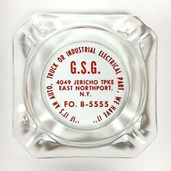 Vtg Gsg Glass Ashtray Truck Industrial Electrical Parts E. Northport New York Ny