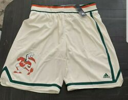 Authentic Adidas Game Miami Hurricanes Basketball Team Issued Shorts Sz.2xl+2