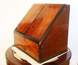 Antique Red King Mahogany Stationery Cabinet With Calendar