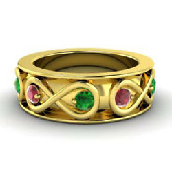 0.80 Carat Emerald Natural Ruby Eternity Band 14k Yellow Gold Size Selective