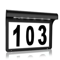 House Numbers Plaque Solar Powered Light Address Sign Led Waterproof Yard Lamp
