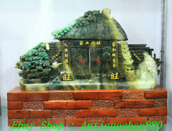 """17 China Natural Dushan Jade Carve """" 家业兴旺 """" Houses Gate Pine Tree Coin Statue"""