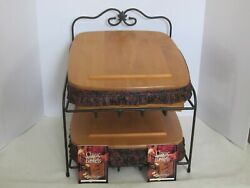 Longaberger Wrought Iron Paper Tray And Basket Combos W/ Lids Father's Day Paisley