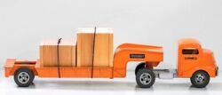 Smith-miller Gmc Tractor With Flatbed Lowboy Trailer Circa 1950's