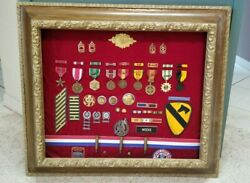 Collection Korean War And Vietnam Military Memorabilia Medals Patches Framed