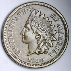 1859 Indian Head Small Cent Choice Xf Au Free Shipping E109 Rfw