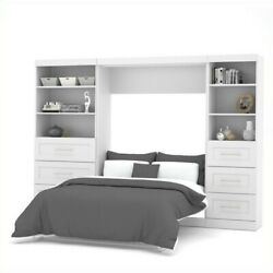 Atlin Designs 120 Full Wall Bed With 2 Piece 6-drawer Storage Unit In White