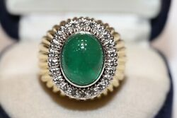 Old Vintage 18k Gold Natural Diamond And Emerald Decorated Strong Big Ring
