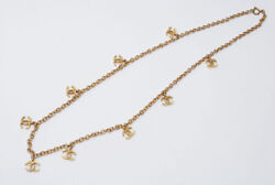 Coco Mark Long Chain Necklace Gold P0592