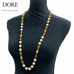 Coco Mark Faux Pearl Bell Motif Long Necklace Gp Gold 94/a Vintage