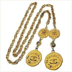 Necklace Accessory Gold Clear Coco Mark Coin Secondhand T10766