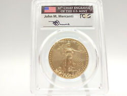 2016-w Pcgs Sp70 Burnished Gold Eagle First Day Issue W/ Mercanti Signature 088