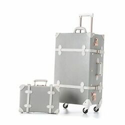 Vintage Suitcase Set 26 Inch Pu Leather Spinner Luggage Light Gray-26+12