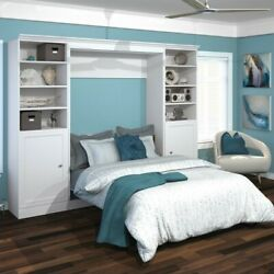 Atlin Designs 109and039and039 Full Wall Bed With 2 Piece 2 Door Storage Unit In White