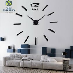 Big 3D DIY Home Wall Clock Decal Sticker Huge Large Room Watch Décor Abstract