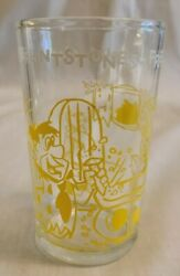 Hanna Barbara Flintstones Jelly Glass Fred Builds A Doll Cave Yellow Glass