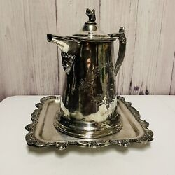 Epca Poole Silver Company 812 Footed Square Serving Tray And Pitcher