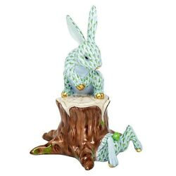 Herend Down The Rabbit Hole Key Lime Porcelain Figurine Flawless