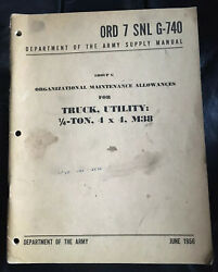 1956 Dept Army Ord7snl G-740 Truck Utility Maintenance Willys Jeep 4x4 M38
