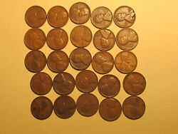 1/2 Roll 1933 D Lincoln Wheat Cents Penny Good Or Better Condition 25 Coins