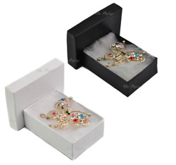 100pc Jewelry Boxes Black Cotton Filled Jewelry Swirl Boxes White Gift Boxes