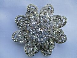 Beautiful Vintage Big Clear Round Signed Weiss Rhinestone Pin Brooch