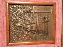 Antique Ornate Thick Brass Relief Wall Plaque Possible Indian Or Persian Art