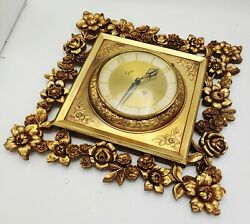 Vintage Syroco Gold Floral Leaf Wall Clock No Key Untested 20 8 Day - Very Cool