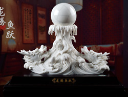 18 Chinese Dehua Porcelain Fengshui Double Dragon Loong Dragons Bead Statue