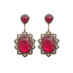 Vintage Style Silver Earrings With Synthetic Rubies White Opals And Ice Diamonds.
