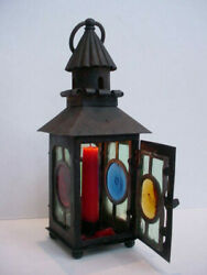 Antique Iron And Leaded Bullseye Glass Panels Candle Lantern Arts And Crafts Mission