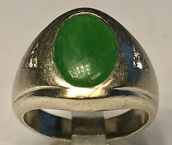 Antique 14k White Gold With Apple Green Jade And Diamonds Ring Size 5.75