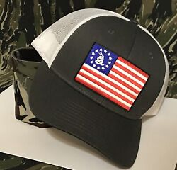 Gadsden American Flag Patch Gray/white Richardson Snapback 115 Hat And Camo Koozie