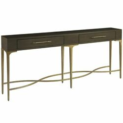 Soliloquy Console Table In Brown Wood Finish And Antique Brass Metal Base