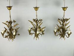 3 X Vintage Florentine Gilded Chandelier With Wheat And Flowers Style Of Hans Kogl