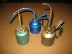 3 Vintage Eagle Oil Cans Blue Green Teal Gold Thumb Pump Spout Usa West Germany