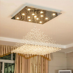 Modern Wave K9 Crystal Hanging Wire Ball Square Pendant Lamp Lighting Fixture Ra