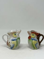 Set Of Two Vintage Mini Rooster Dairy Container/occupied Japan