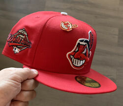Red / White Cleveland Indians Fitted New Era Size 7 3/4 Grey Bottom