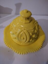 Gorgeous Imperial Glass, Heavy Yellow Milk Glass Dome Butter Dish Vintage