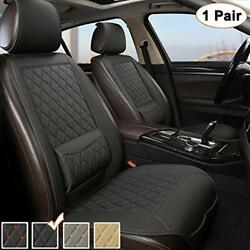 Black Panther 1 Pair Luxury Pu Leather Front Car Seat Covers Protectors Pads