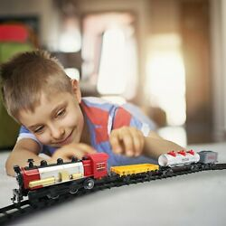 Kids Electric Toy Train Set Gift For Boys And Girls W/ Steam Locomotive Engine