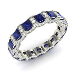 Solid 950 Platinum 3.88 Ct Diamond Sapphire Womenand039s Engagement Band Size M N O P