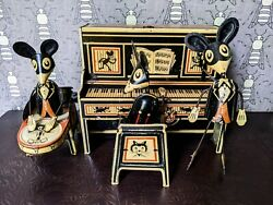 1930s Marx Merry Makers Mouse Band Tin Litho Wind Up Toy, Works Great See Video