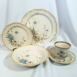 4 Mikasa Blue Daisies 5 Piece Place Settings Vintage Discontinued Lot 4 Settings