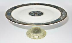 Royal Doulton Carlyle Blue Flowers Gold Leaves Teal Band Pedestal Cake Stand