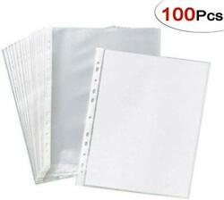 A4 Paper Sleeves Clear Sheet Page Protector Document Office Ring Binder 100pcs