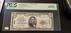 1929 Ty. 1 5 Mellon National Bank Of Pittsburgh, Fr1801-1 Pcgs Choice 64 Ppq