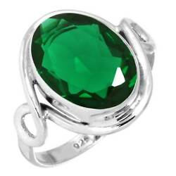 925 Sterling Silver Ring Emerald Simulated Handmade Jewelry Size 7 Wq35959