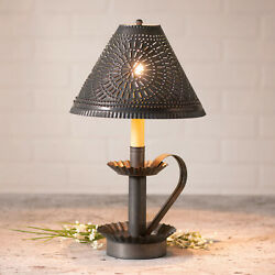 16.5quot; Plantation Candlestick Lamp Chisel Punched Tin Shade Kettle Black